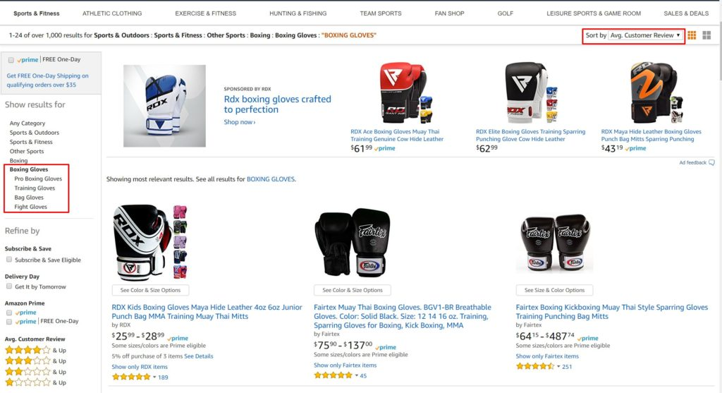 Research The Best Boxing Gloves On Amazon By Using Sort and Filter